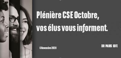 Plénière CSE Octobre, vos élus vous informent